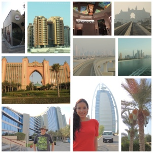 Al-Arab hotel (the world's only 7-star hotel), the Jumeirah hotel, bus stop (air conditioned), the Palm monorail, the Atlantis hotel and the Dubai Marina