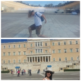Parliament building (Hellenic Parliament or Old Royal Palace) and the Olympic Stadium